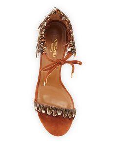 Aquazzura - Rio Feather Ankle-Tie Sandal