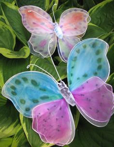gauze butterflies - Spring party favor, kids' activity