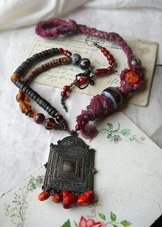 Beaded Necklace - Macrame - Tribal Assemblage Necklace - Wood, Glass, Hemp, Fabric, Shell - Rustic Necklace - Fancy Pendant