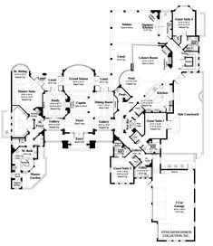 Floor plan screened in lanai theater aaaand it has an for Mansion house plans with elevators