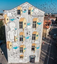 by Millo in Vilnius, Lithuania, 9/15 (LP) Street Art Graffiti, Amazing Art, Mural Painting, Mural Art, Europe Street, Lithuania, Best Street Art, Unusual Art, Art Festival
