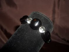 Black and Clear Glass Bracelet by LLcrafting on Etsy, $5.00