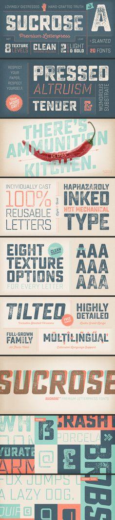 Sucrose Letterpress Font Family by Yellow Design Studio on Creative Market