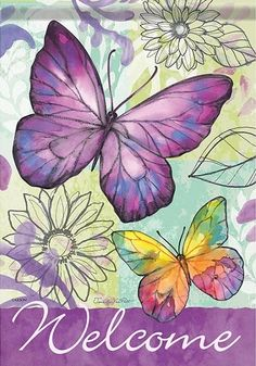 Welcome Purple Butterfly Garden Flag House Decor Double-sided Yard Banner Butterfly Watercolor, Butterfly Wallpaper, Watercolor Paintings, Welcome Pictures, Welcome Images, Purple Butterfly, Butterfly Art, Side Garden, Outdoor Flags