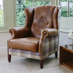 Harris tweed & Italian leather sofa range from Curiosity Interiors. Chesterfield button back sofa, chair, chaise long, bench & footstools Vintage Leather Sofa, Leather Furniture, My Living Room, Living Room Furniture, Winged Armchair, Wing Chair, Chair Fabric, Upholstery, Furniture Design