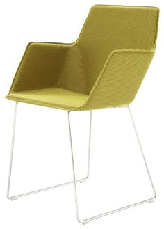 ELSA; Francois Bauchet. The seat comprises a shell in thermoformed ABS upholstered with foam, onto which the cover is glued. This restricts the choice of covering materials. Chromed sleigh foot version H84.5 W52 D55.5 CM