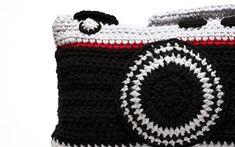 Crochet Camera Pillow by peanutbutterdynamite on Etsy, $45.00