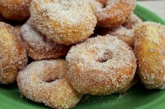 """Sugar doughnuts - these look like delicious donuts we eat at """"The Logging Camp"""" up in Park Rapids, MN Donut Recipes, Healthy Dessert Recipes, Snack Recipes, Snacks, Desserts, Chocolate Almond Milk, Cinnamon Sugar Donuts, Homemade Sweets, Hungarian Recipes"""