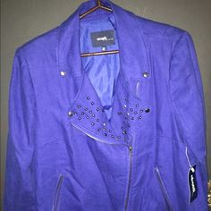 Eloquii moto jacket size 16w Beautiful blue moto jacket. Purchased from eloquii about two years ago. Never used Bc it's too big for me. I usually wear a 14.. Beautiful stud detail... Nice material.. Not too thin or too thick. Eloquii Jackets & Coats