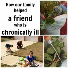 Ways to Help the Chronically Ill with Your Kids.  We share how we help Sarah, a friend that is chronically ill.  And, these are things you can do with your kids. #actsofkindness #serveothers #chronicillness
