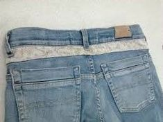 Upcycling, Its Time! And Some Student Creations From My Patterns! Upcycling, Its Time! And Some Student Creations From My Patterns! Lace Jeans, Diy Jeans, Jean Diy, Denim Crafts, Diy Fashion, Fashion Trends, Altering Clothes, Clothing Hacks, Sewing Clothes