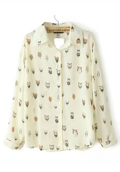 To find out about the Beige Lapel Long Sleeve Cartoon Owl Print Blouse at SHEIN, part of our latest Blouses ready to shop online today! White Chiffon Blouse, Chiffon Blouses, Chiffon Shirt, Chiffon Tops, Camisa Social Jeans, Collar Shirts, Shirt Blouses, Printed Blouse, Printed Shirts