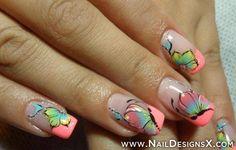 neon flower nail design