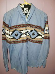 ROPER-SOUTHWESTERN-Western-Cowboy-L-S-Mens-Button-Front-Shirt-MT-MEDIUM-TALL