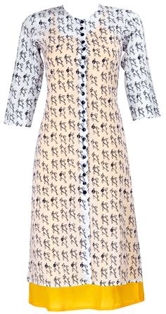 Kurti with contrast inner India Fashion, Asian Fashion, Steampunk Fashion, Gothic Fashion, Ethnic Dress, Indian Ethnic Wear, Pakistani Outfits, Indian Outfits, Desi Wear