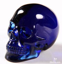 Deep Blue Obsidian Crystal Skull