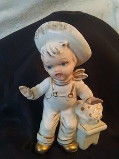 Vintage Porcelain Doll, Small Figurines, Boy Figurine, Farm Boy, Small Boy Figurine, Porcelain Boy, Figurines, Inarco , Farm Boy Figurine by Vintagepetalpushers on Etsy