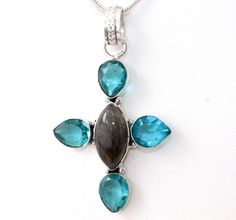CROSS LABRADORITE-BLUE TOPAZ 925 STERLING SILVER FASHION JEWELRY PENDANT T207 #925silverpalace #Pendant