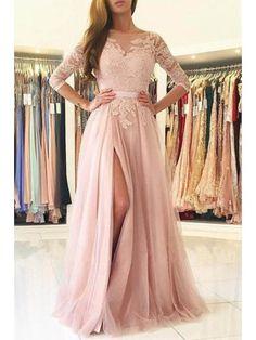 Hot Sale Trendy Prom Dresses 2018 Elegant Half-Sleeve Split Lace Long Evening Dress Prom Dresses