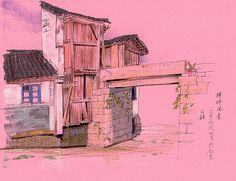 pen ink and chalk on pinkpaper Drawings, Photography, Painting, Sketching, Medium, Colors, Pink, Scenery, Photograph