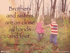Quote | Vietnamese proverb: Brothers and sisters are as close as hands and feet. #lossofsibling #quotes #grief