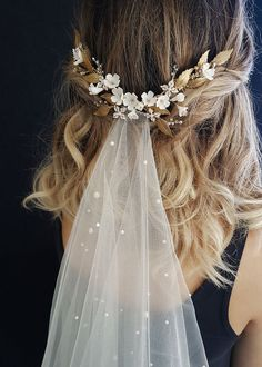 Wedding Hairstyles Updo HONEYSUCKLE Floral wedding headpiece with gold leaf details Veil Hairstyles, Wedding Hairstyles With Veil, Bridal Hair Half Up With Veil, Bridal Hairstyles, Wedding Dress With Veil, Wedding Hairstyle Short Hair, Bride Short Hair, Bride Hair With Veil, Medium Length Wedding Hairstyles