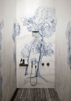 Alternatives to Tiling Your Bathrooms - Waterproof Wallcoverings, Bathroom inspiration from decorative waterproof wallpaper, to wall/shower panels. Bathroom Inspiration, Interior Inspiration, Wallpaper Designs For Walls, Print Wallpaper, Wc Decoration, Arte Wallcovering, Landscape Glass, Forest Wallpaper, Big Design