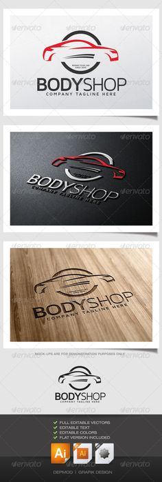 Body Shop Logo #GraphicRiver Logo of a car body (car silhouette). Can be used for many kind of project.