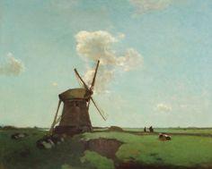 Jan Hendrik Weissenbruch (1824-1903) | Workers near a wind mill in a Dutch polder landscape, near Noorden oil on canvas | 19th Century, Paintings | Christie's