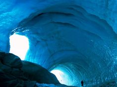 """The """"Ice Cave"""" (Kverkfjoll)is located in Iceland and contains hot water which springs from the iceberg Varnajokull,beneath the cave"""