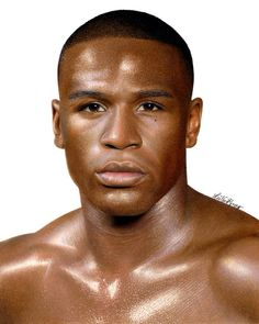 Colored pencil drawing of Floyd Mayweather by Heather Rooney