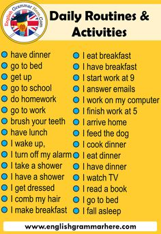 Daily Routines in English - English Grammar Here - Beauty Pin 👸 English Verbs, English Sentences, English Phrases, Learn English Words, English English, English Learning Spoken, Teaching English Grammar, English Writing Skills, English Language Learning