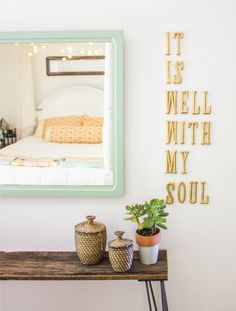 """LOVE the colour of the frame, the rustic bench and the gold saying """"It is well with my soul"""" beside it.."""