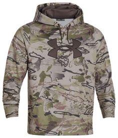Under Armour ColdGear Big Logo Camo Hoodie for Men - Ridge Reaper Camo Barren/Brown - S