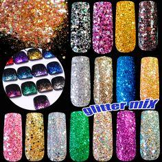 Pentagon pailletten Holografische Glitter Poeder DIY nail art glitter Goud Zilver Rood Roze Blauw Glitter Size Kleur Mix