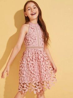 To find out about the Girls Fit and Flare Guipure Lace Overlay Halter Dress at SHEIN, part of our latest Girls Dresses ready to shop online today! Girls Dresses Online, Girls Formal Dresses, Dresses Kids Girl, Kids Outfits Girls, Girl Outfits, Cute Outfits, Flower Girl Dresses, Fashion Outfits, Box Pleated Dress