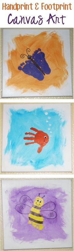 How to Make Handprint {and Footprint} Canvas Art! SO many fun ideas for handprints and footprints. This craft would make such fun homemade gifts from the kids, too! Daycare Crafts, Baby Crafts, Cute Crafts, Toddler Crafts, Crafts To Do, Craft Projects, Crafts For Kids, Footprint Crafts, Handprint Art