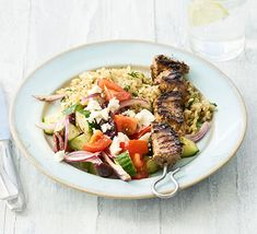 Contains pork – recipe is for non-Muslims only Pair this healthy souvlaki with a rice dish – or if you're cooking on the barbecue, you might prefer a baked potato instead. The salad has three of your Healthy Pork Recipes, Bbc Good Food Recipes, Healthy Eating Tips, Rice Recipes, Meat Recipes, Yummy Recipes, Healthy Food, Recipies, Meals Under 500 Calories