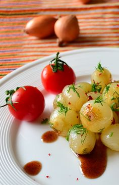 Glazed pearl onions with a vinegar and pomegranate molasses sauce