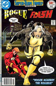 Super-Team Family: The Lost Issues!: Rogue and The Flash Dc Comic Books, Comic Book Covers, Comic Book Characters, Comic Book Heroes, Comic Character, Dc Comics Vs Marvel, Marvel Comic Universe, Dc Comics Art, Flash Comics