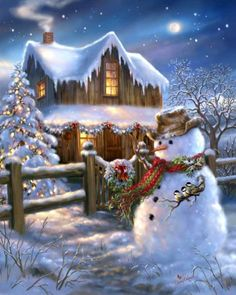 Put on your cowboy hat and boots - The Country Christmas is here! This 500 piece puzzle depicts a beautiful night scene with a wooden cabin, and a snowman dressed up with a cowboy hat - The perfect puzzle to get you into the Christmas spirit! Vintage Christmas Cards, Christmas Images, Country Christmas, Christmas Snowman, All Things Christmas, Christmas Holidays, Christmas Crafts, Christmas Decorations, Merry Christmas