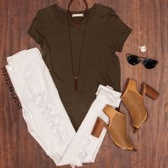 - Details - Size Guide - Model Stats - Contact Oh hello my love! This Amor Mio Top in olive features a lightweight, knit fabric with stretch. Scoop neck front and back. Short sleeves. Extended front h