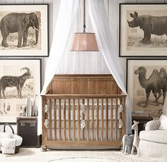 RH baby&child's Embroidered Safari & Pin Dot Nursery Bedding Collection:A sweet menagerie of embroidered giraffes, elephants and camels parades across the bottom of our bumper. Sewn from softly textured white cotton-linen and finished with a flax border and piping.