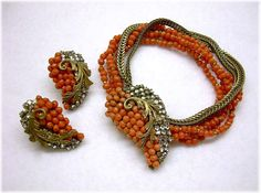 HASKELL Hess Exquisite Coral & Rhinestone Leaves Demi