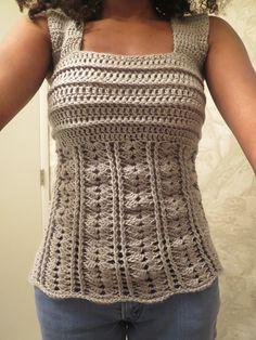 Ravelry: Wide strap tank top pattern by Maz Kwok Crochet Tank Tops, Crochet Summer Tops, Crochet Blouse, Easy Crochet, Knit Crochet, Knit Vest Pattern, Top Pattern, Free Pattern, Crochet Woman