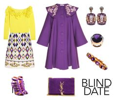 """Dress to Impress: Blind Date"" by karen-galves ❤ liked on Polyvore featuring VIVETTA, Roland Mouret, Delpozo, Yves Saint Laurent, Federica Rettore, Retrò and blinddate"