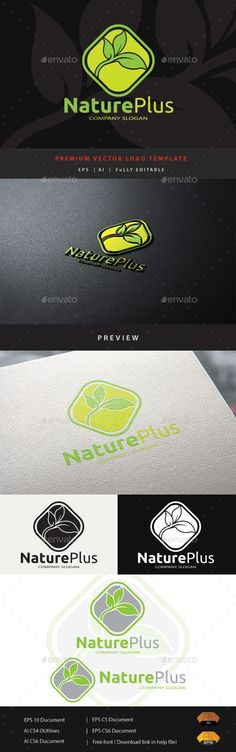 Nature Plus - Logo Design Template Vector #logotype Download it here: http://graphicriver.net/item/nature-plus/11774035?s_rank=737?ref=nexion