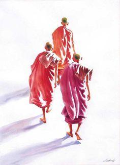 Traveller Monks (2) by Min Wae Aung - watercolour