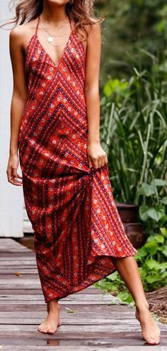 Boho Red Halter V-neck Folk Print Open Back Chic Women Maxi Dress. Women fashion. Bohemian summer dresses. Boho dresses. Beach fashion & Bohem style.    Boho fashion. Bohemian style. Gypsy style.  #boho #bohemian #gypsy  #bohoclothing #bohemianclothing #affiliate #vintage  #bohochic #bohostyle #hippiestyle #hippie #beachfashion #bohemiandress  #bohodress #summerdress #dress