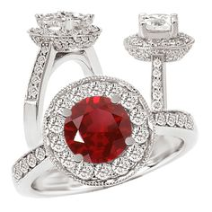 18k Chatham lab-grown 7.5mm round ruby engagement ring with natural diamond halo